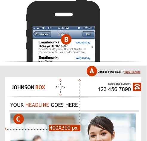 header optimization, Johnson box and snippet text in email