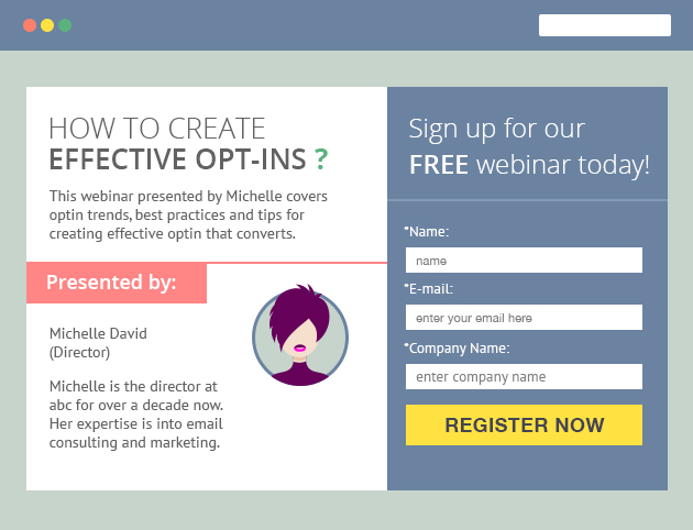Sign up Opt-in form Example
