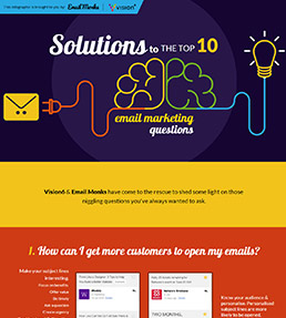 Solutions to the top 10 email marketing questions infographic